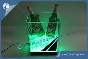 Customized acrylic led ice buckets wholesale acrylic cooler buckets with private logo