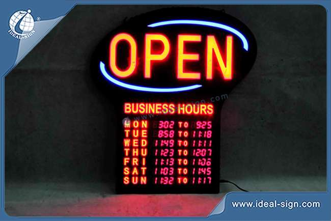 Open Sign With Business Hours And Digital Number