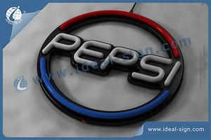 Customized Frame ABS Pepsi Logo Faux Neon LED Sign 36 * 36 * 3cm