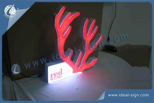 RED STAG Antler Shape Indoor LED Signs / Acrylic LED Light Box For Bar Promotion