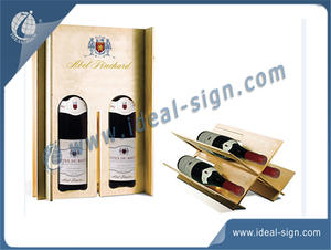 China supplier for custom dual pine poly wooden wine gift box convertible to wine racks