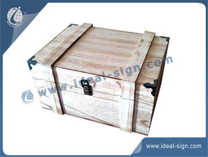 China manufacturing personalized paulownia wood wine packing box witn metal corners