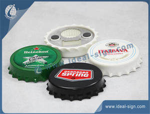 Wholesale personalized  bottle cap shape bottle opener silk printing beverage logo