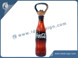 professional wholesale Coca Cola bottle shape opener with fridge magnet brand solution