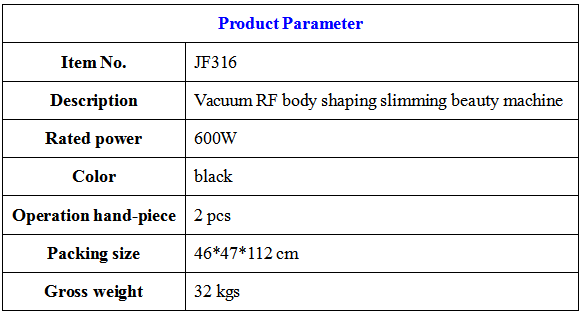 Vacuum RF cavitation body shaping beauty machine parameter