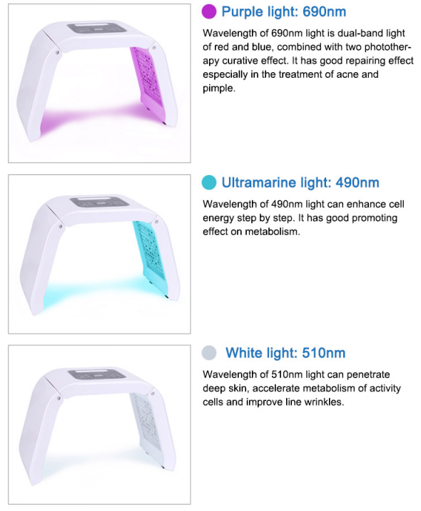 LED light therapy machine with seven colors