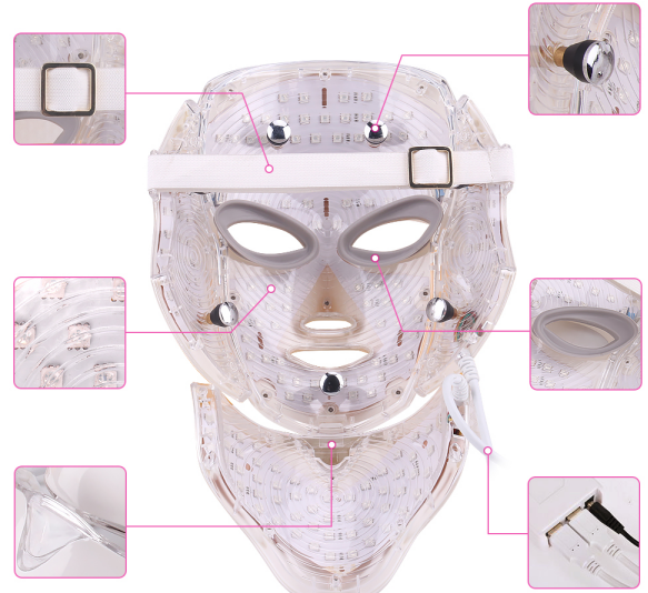 LED therapy facial mask detail display