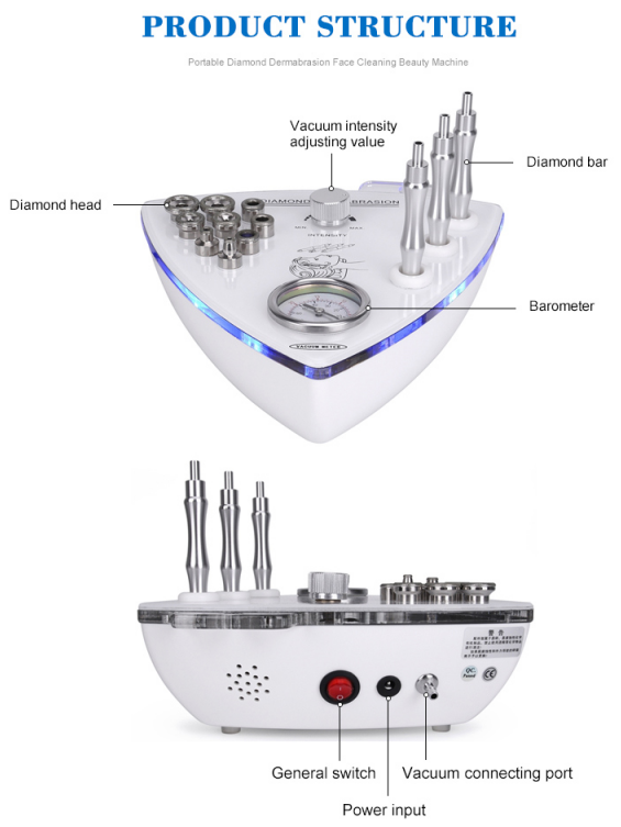 Diamond microdermabrasion machine structure