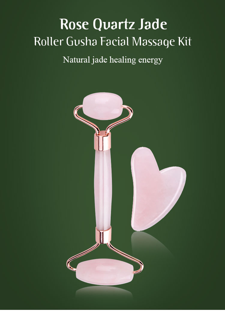 Rose quartz jade roller guasha set features