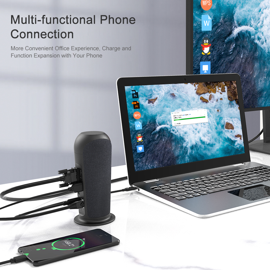 USB C Docking Station with Speaker for Laptop