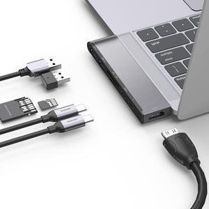 Aluminum Dual USB C Hub 7-in-1 Adapter