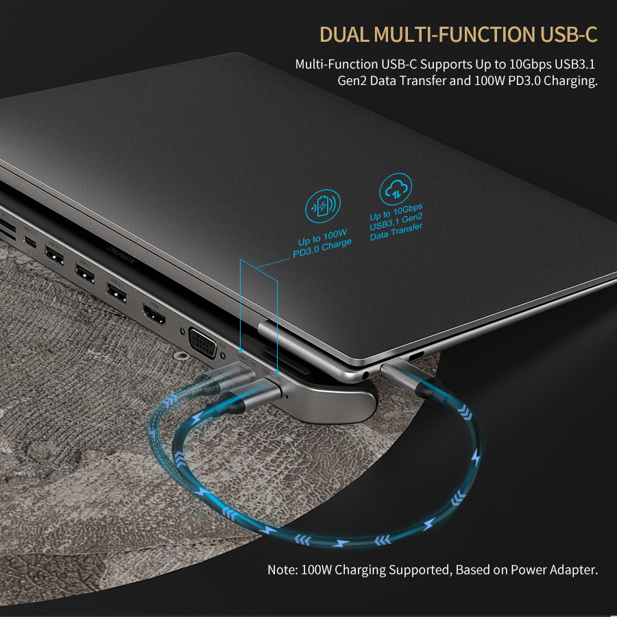 10-in-1 Full Featured USB C Tablet Docking Station