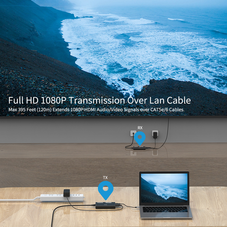Full HD 1080P HDMI Over IP Extender