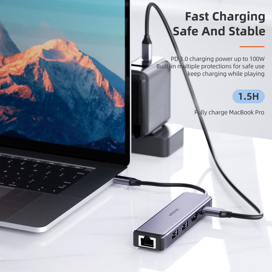 5 in 1 USB C Hub Adapter with HDMI RJ45 Ethernet
