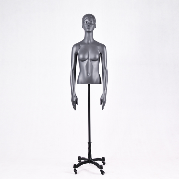 Half upper body black female torso display half mannequin with head stand for sale(DG half body  mannequin )