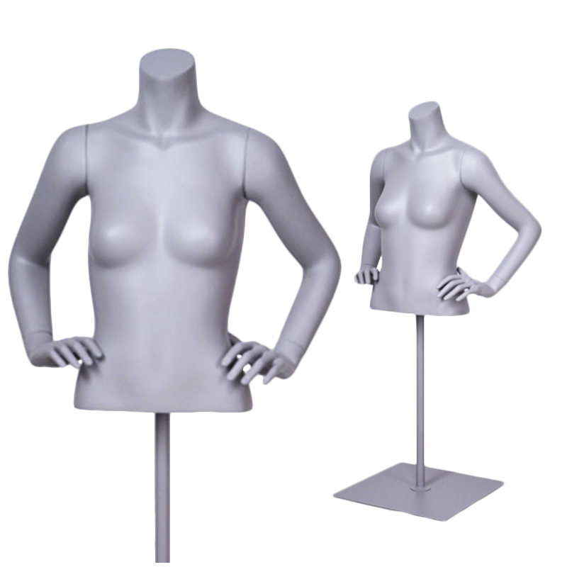 Torso bust female mannequin black female half man headless mannequin torso with arms for sale(DFA hanging female torso mannequin)