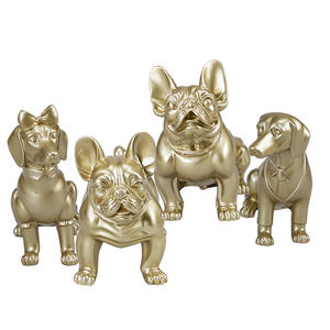 Fiberglass Gold Dog Mannequins Resin Statues For Sale