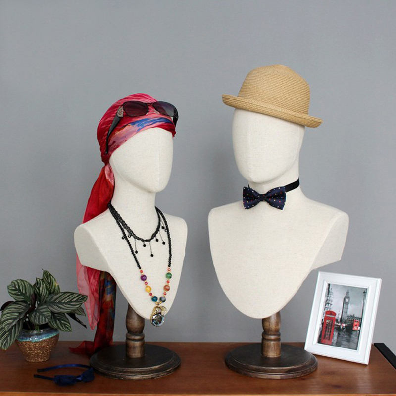 Customized fabric linen display mannequin head with shoulder for accessories display(TMH)