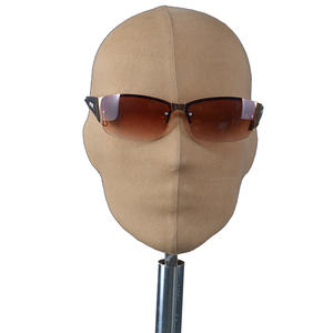 Customized abstract mannequin fabric wrapped linen fiberglass male mannequin head for sale