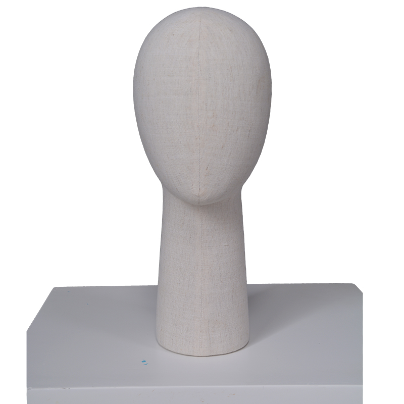 Customized egg head female mannequin fabric wrapped linen fiberglass mannequin head for sale