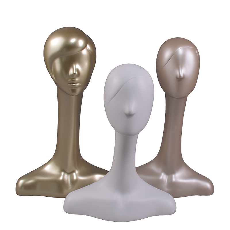 High glossy female mannequin display head with long neck and shoulder for window display.