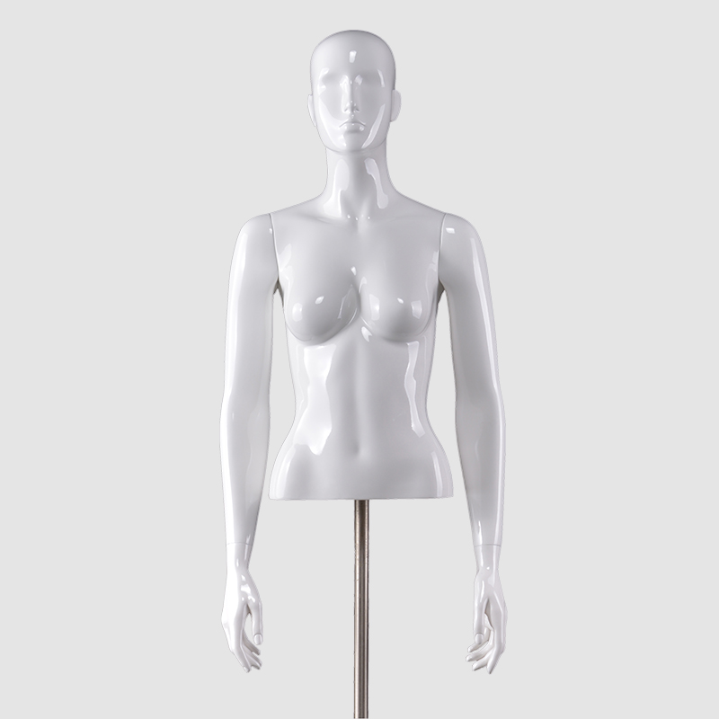Glossy white women torso half body torso female lingerie mannequins with adjustable arms(DK torso mannequin)