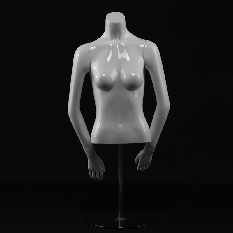 Fashion glossy white female half mannequin torso(KMH)