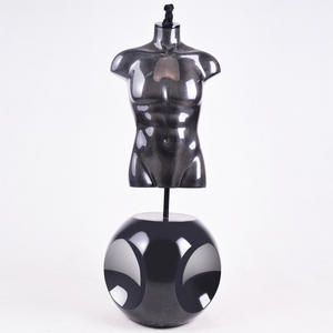 High Quality Glossy Black Half Body Male Torso Mannequin For Sale(OMH)