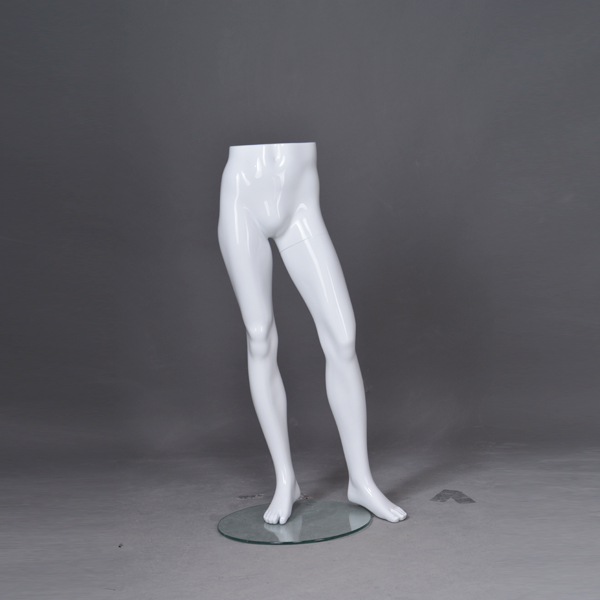 Customized glossy white Lower-body mannequin male leg for sale(RMH)