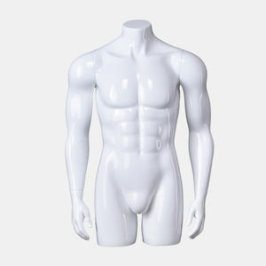 Glossy white half scale mannequins half body male cheap mannequin with stand (EBH)