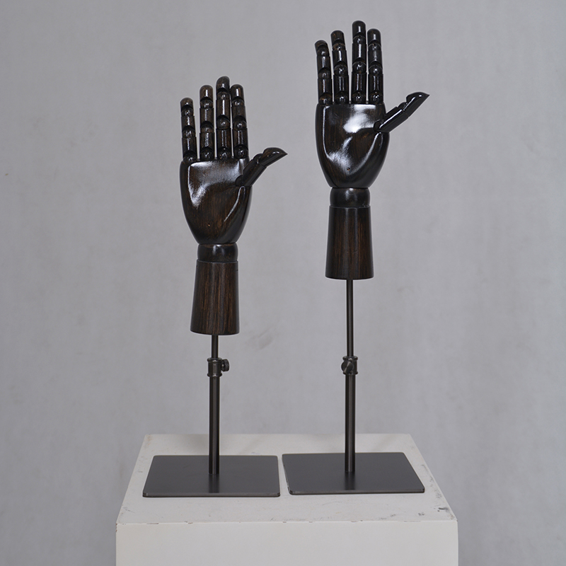 Customized black wooden manikin hand(FH)