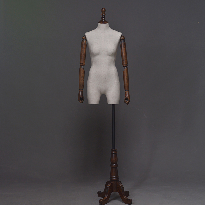 Customized fabric linen mannequins female with wooden hand cheap dress form for sale (HDM)