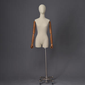 High quality fabric linen mannequins female with wooden hand cheap dress form for sale (IDM)
