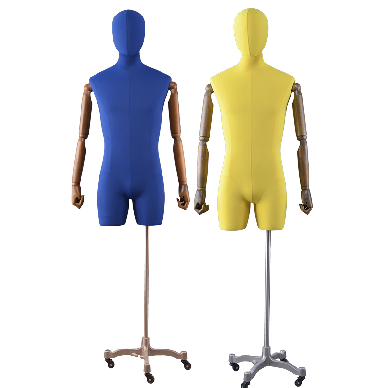 Flexible half body male torso fabric male butt mannequin dress form mannequin (GFM)