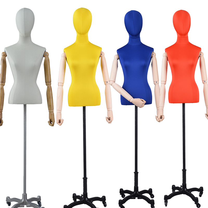 Wholesale Half Body Adjustable Dress Form For Sale Female Mannequin With  Wooden Arms (OFM)