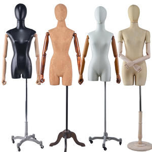 Half body fabric covered fiberglass adjustable dress form mannequin with wood hands  (QFM)