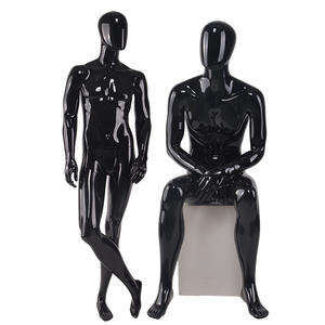 Fashion Customized Fiberglass Glossy Black Mannequin Full Body Male Mannequins(EM))