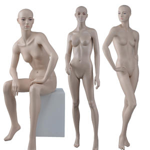 Realistic store clothing couples mannequin window female male make up modern display mannequins