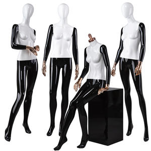 Fashion Store Window Display Female Woman Full Body Sitting Mannequin Suppliers Abstract Head Mannequins For Sale(DFM Series Abstract Head Female Mannequins)
