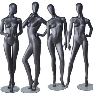 Full body fashion fiberglass female black mannequin for garment display