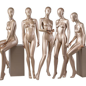 Life size fashion manikin glossy gold female sitting mannequin full body female dress form mannequin