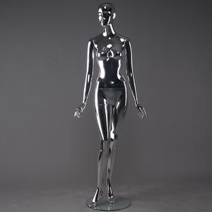 New Style Full Body Sliver Female Chrome Mannequin Life Like Make-up Clear Chrome Female Mannequin On Stand(CFM Series Likelife Chrome Mannequin)