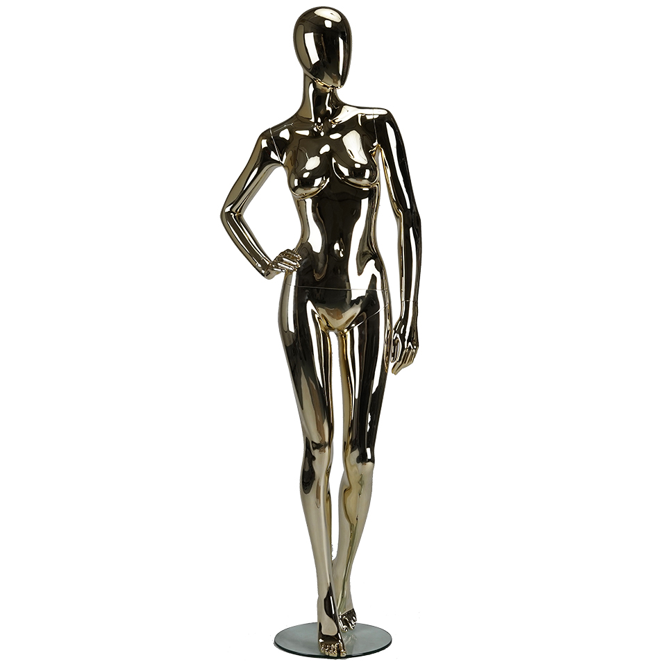 Chrome silver rose gold pink full body female chrome mannequins manufacturer(CM series female chrome mannequins)