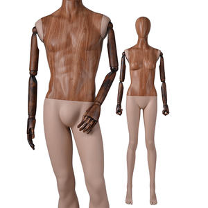 Customized Water Transfer Wooden Finished Female And Male Adjustable Mannequin For Sale (CM)