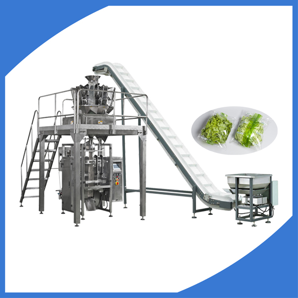 Automatic vegetable salad packing machine with weigher
