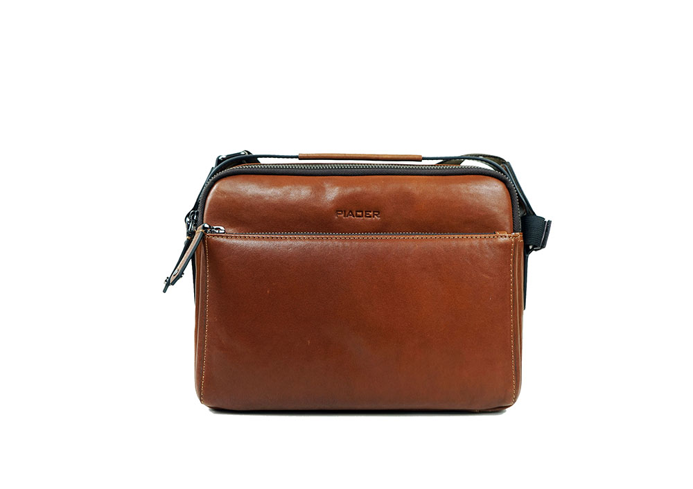 Customized Leather Laptop Briefcase Men's Strip Black Real Leather Laptop Crossbody Bags 9907-2