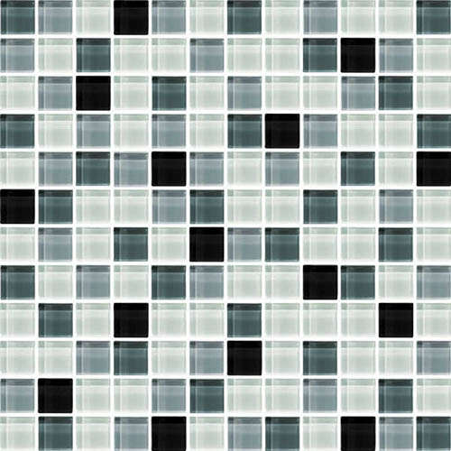 black white mix crystal glass mosaic tile