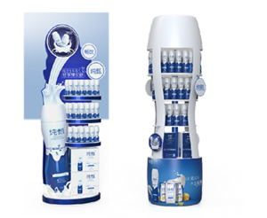 Mengniu-Milk Bottle Shape Point Of Sale Display Stands