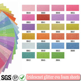 Color chart for Iridescent glitter eva foam sheet