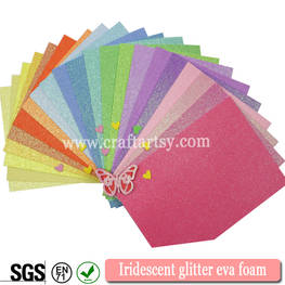 Colorful Iridescent glitter foam sheets